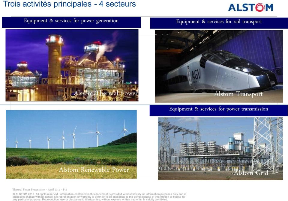 Alstom Transport Equipment & services for power transmission Alstom