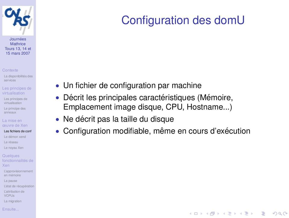 Emplacement image disque, CPU, Hostname.