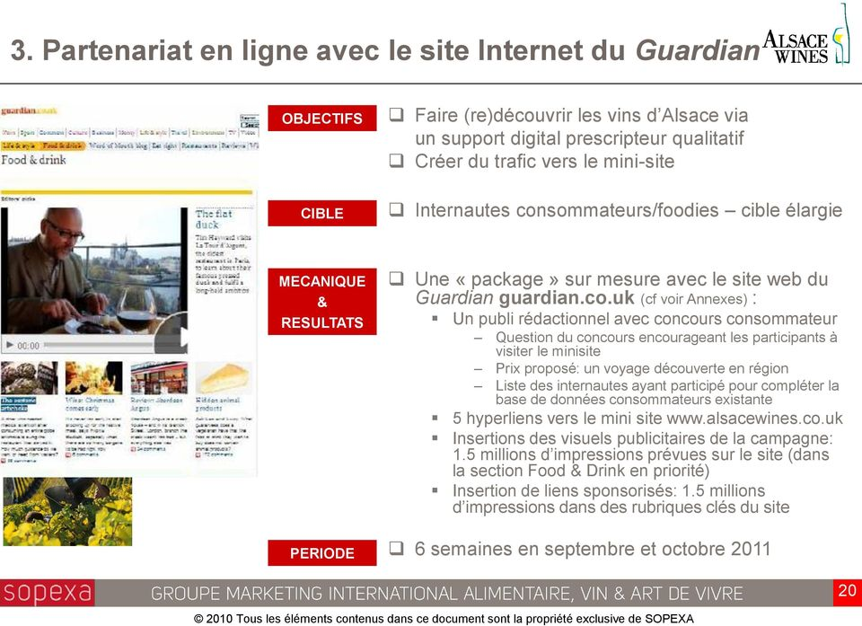 sommateurs/foodies cible élargie Une «package» sur mesure avec le site web du Guardian guardian.co.