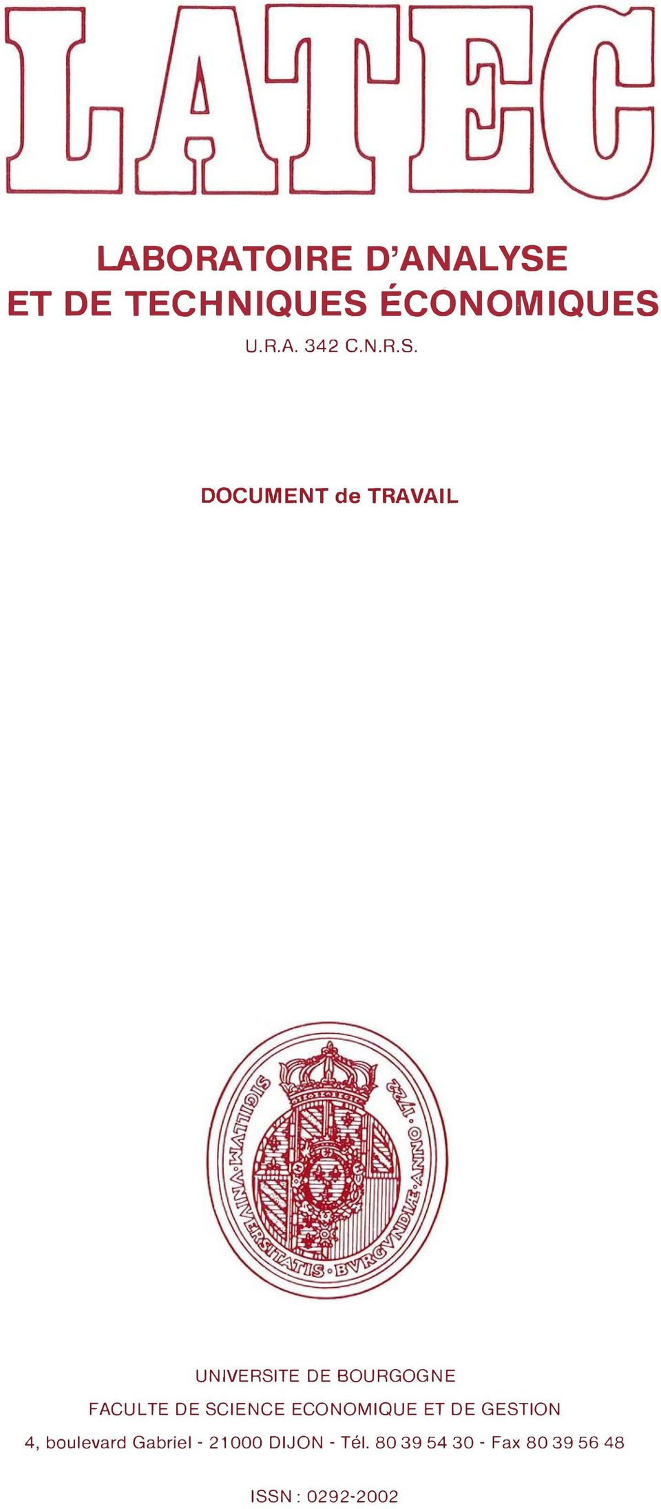 DOCUMENT de TRAVAIL UNIVERSITE DE BOURGOGNE FACULTE DE