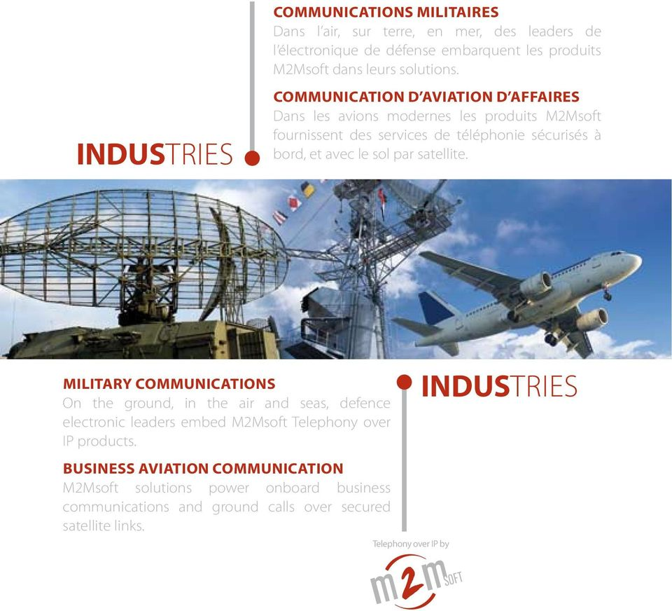 avec le sol par satellite. MILITARY COMMUNICATIONS On the ground, in the air and seas, defence electronic leaders embed M2Msoft Telephony over IP products.