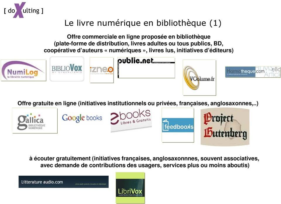 gratuite en ligne (initiatives institutionnels ou privées, françaises, anglosaxonnes,.