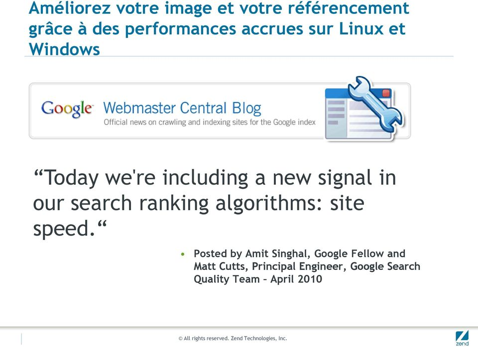 search ranking algorithms: site speed.