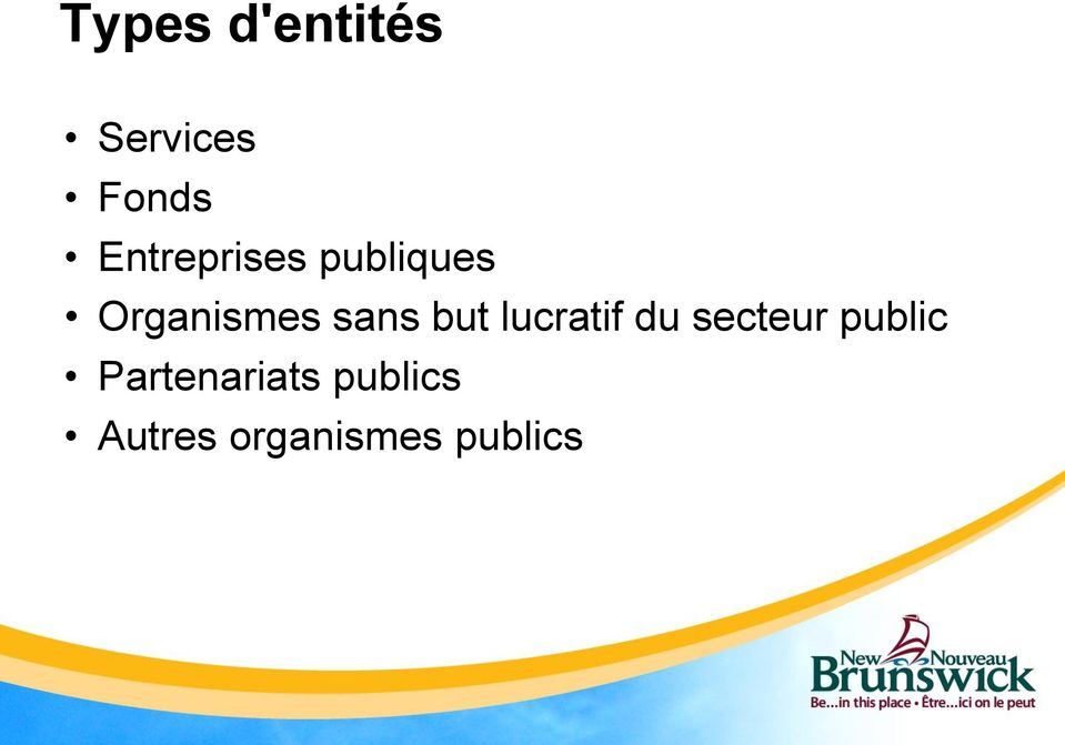 sans but lucratif du secteur public