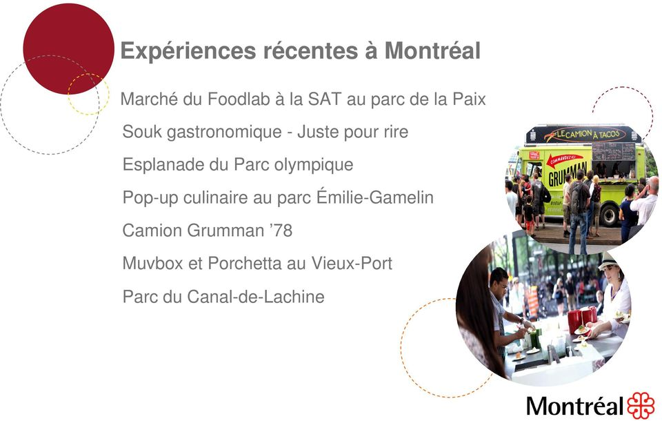 du Parc olympique Pop-up culinaire au parc Émilie-Gamelin Camion
