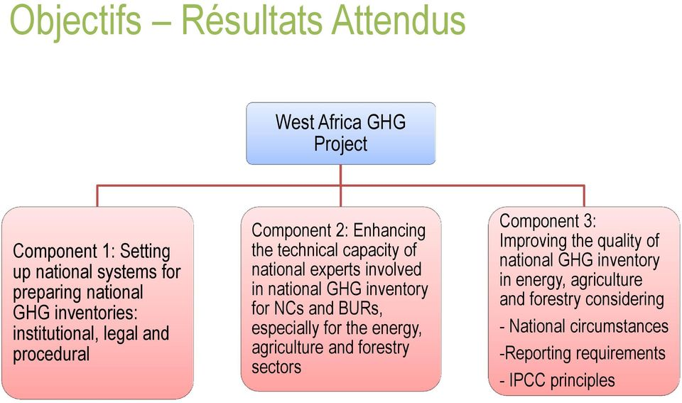 national GHG inventory for NCs and BURs, especially for the energy, agriculture and forestry sectors Component 3: Improving the