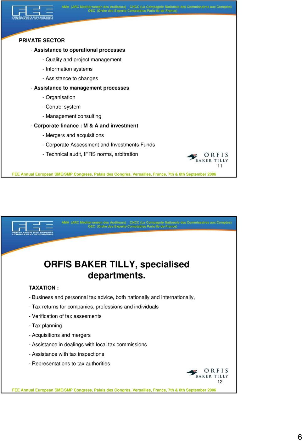 ORFIS BAKER TILLY, specialised departments.