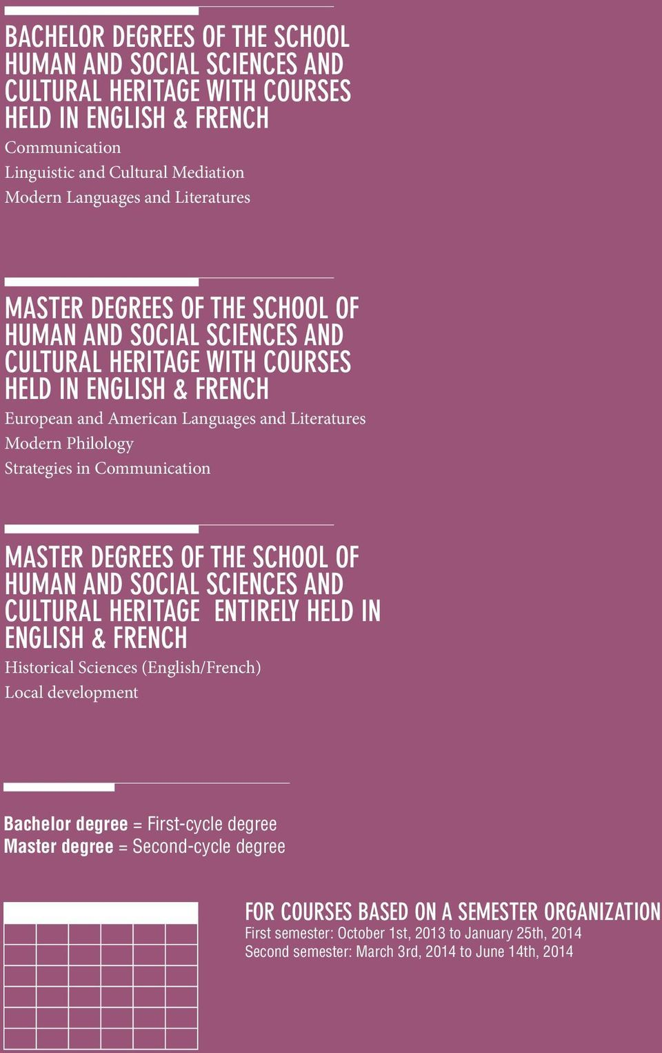 Communication MASTER DEGREES OF THE SCHOOL OF HUMAN AND SOCIAL SCIENCES AND CULTURAL HERITAGE ENTIRELY HELD IN ENGLISH & FRENCH Historical Sciences (English/French) Local development Bachelor degree