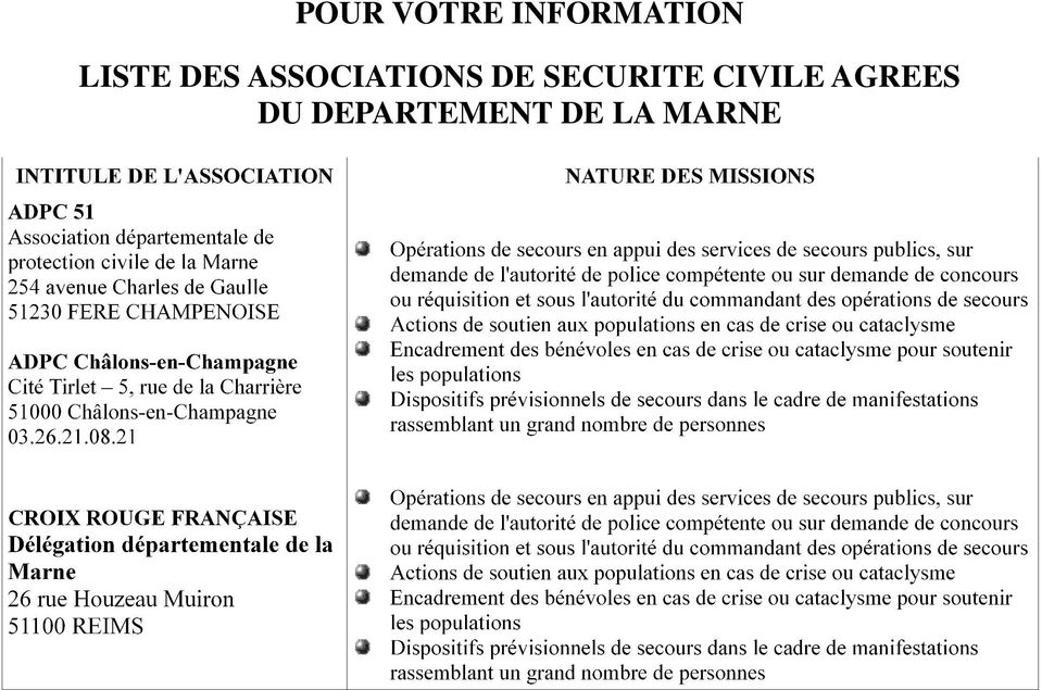 DE SECURITE CIVILE