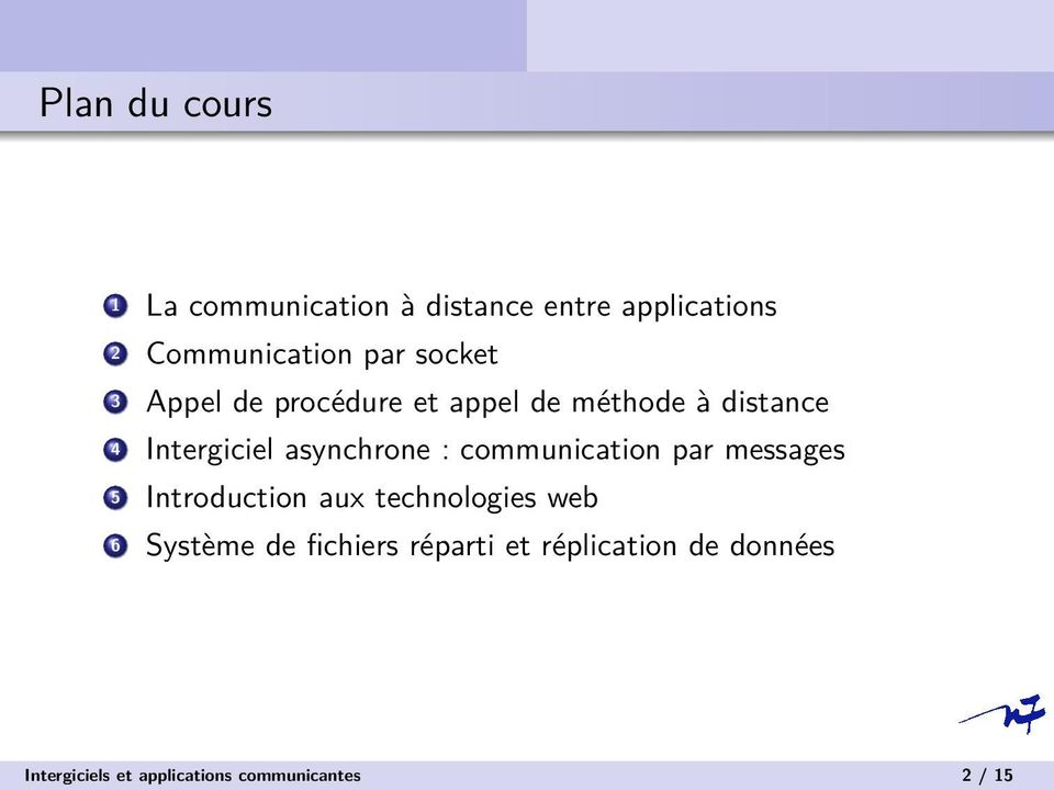 : communication par messages 5 Introduction aux technologies web 6 Système de