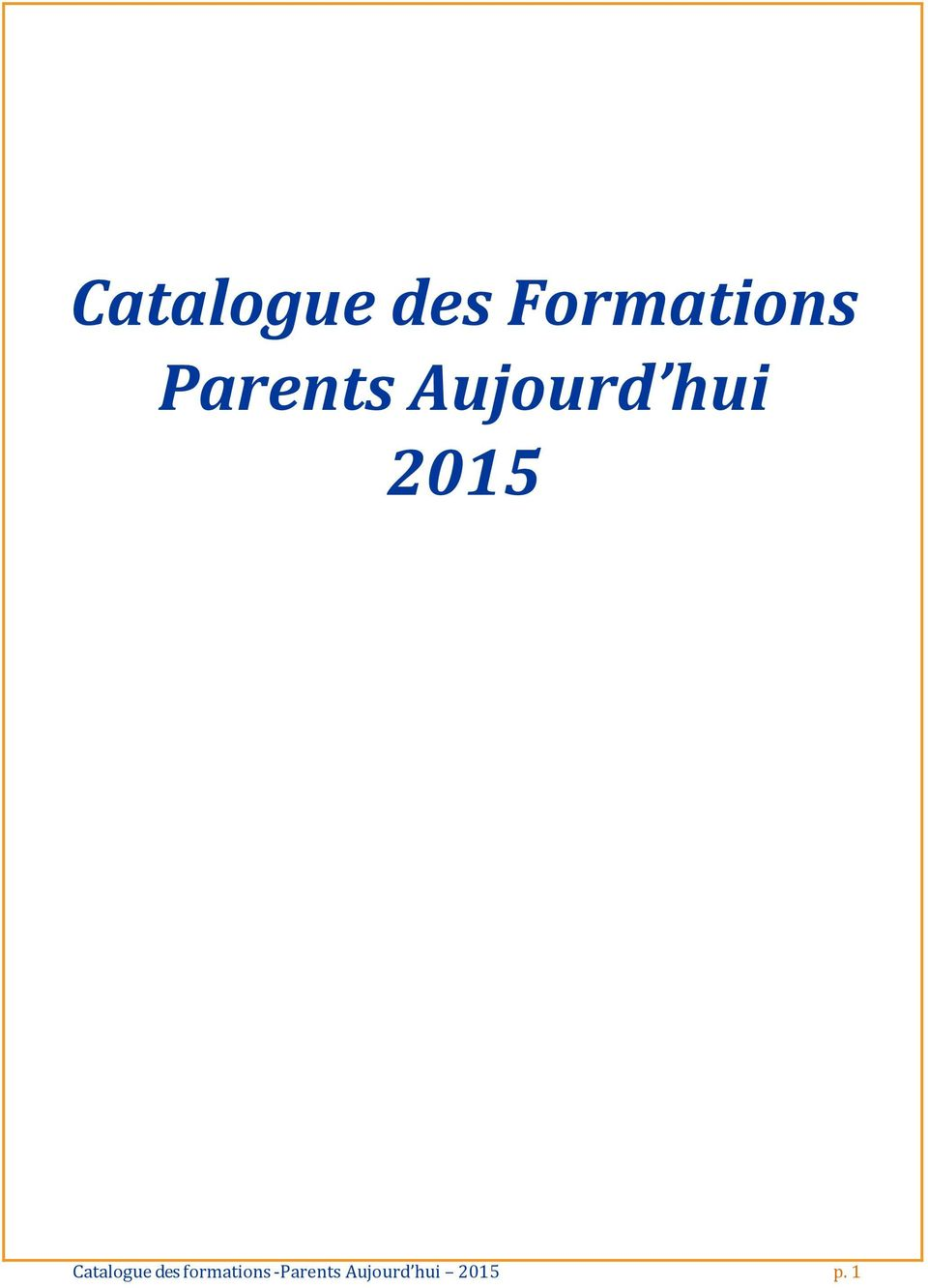 Catalogue des formations -