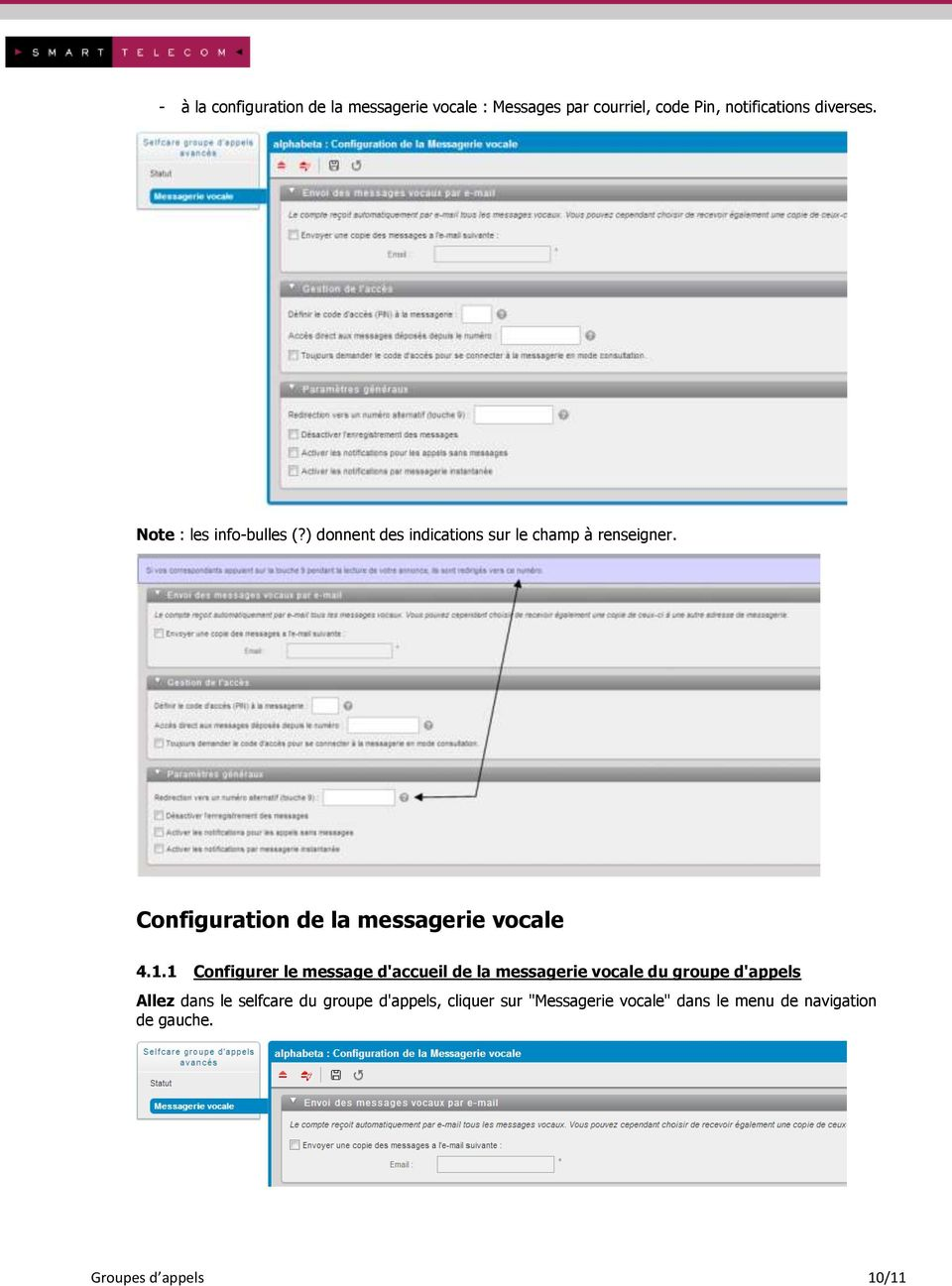 Configuration de la messagerie vocale 4.1.
