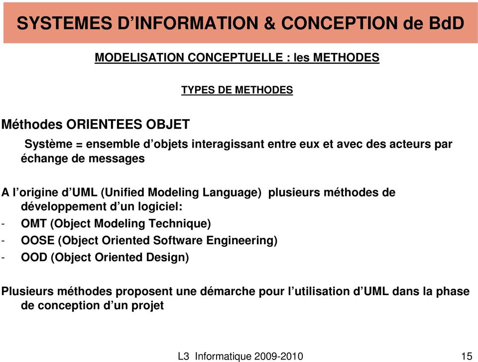développement d un logiciel: - OMT (Object Modeling Technique) - OOSE (Object Oriented Software Engineering) - OOD (Object