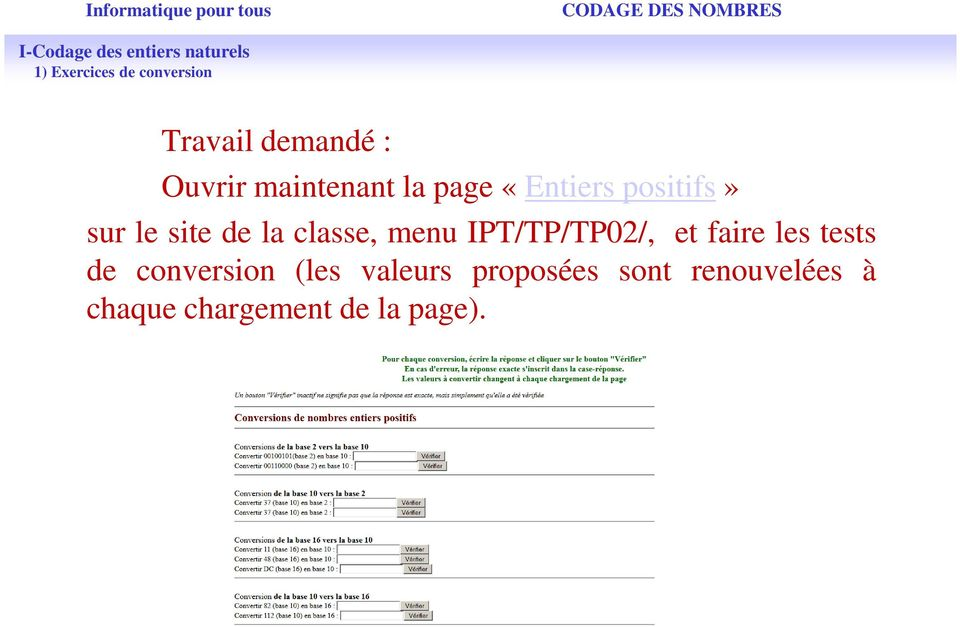 IPT/TP/TP02/, et faire les tests de conversion (les