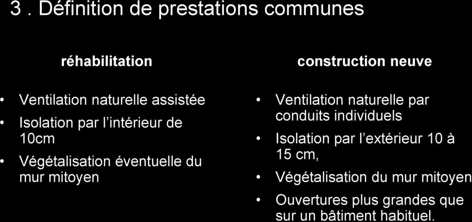 construction neuve Ventilation naturelle par conduits individuels Isolation par l