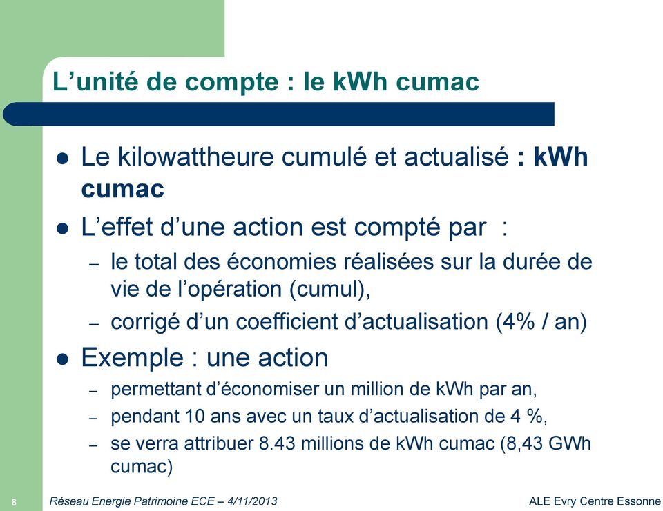 coefficient d actualisation (4% / an) Exemple : une action permettant d économiser un million de kwh par an,
