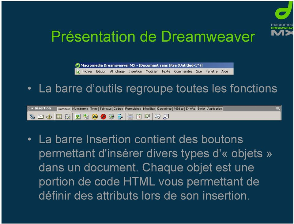 divers types d'«objets» dans un document.