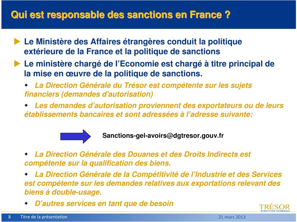 politique de sanctions.