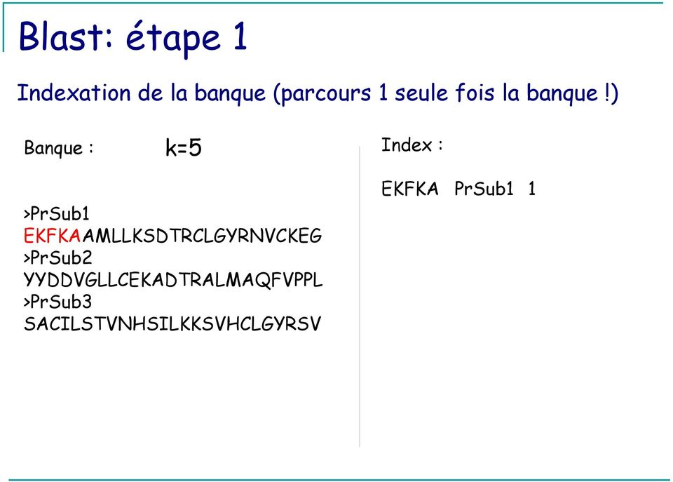 ) Banque : k=5 Index : >PrSub1