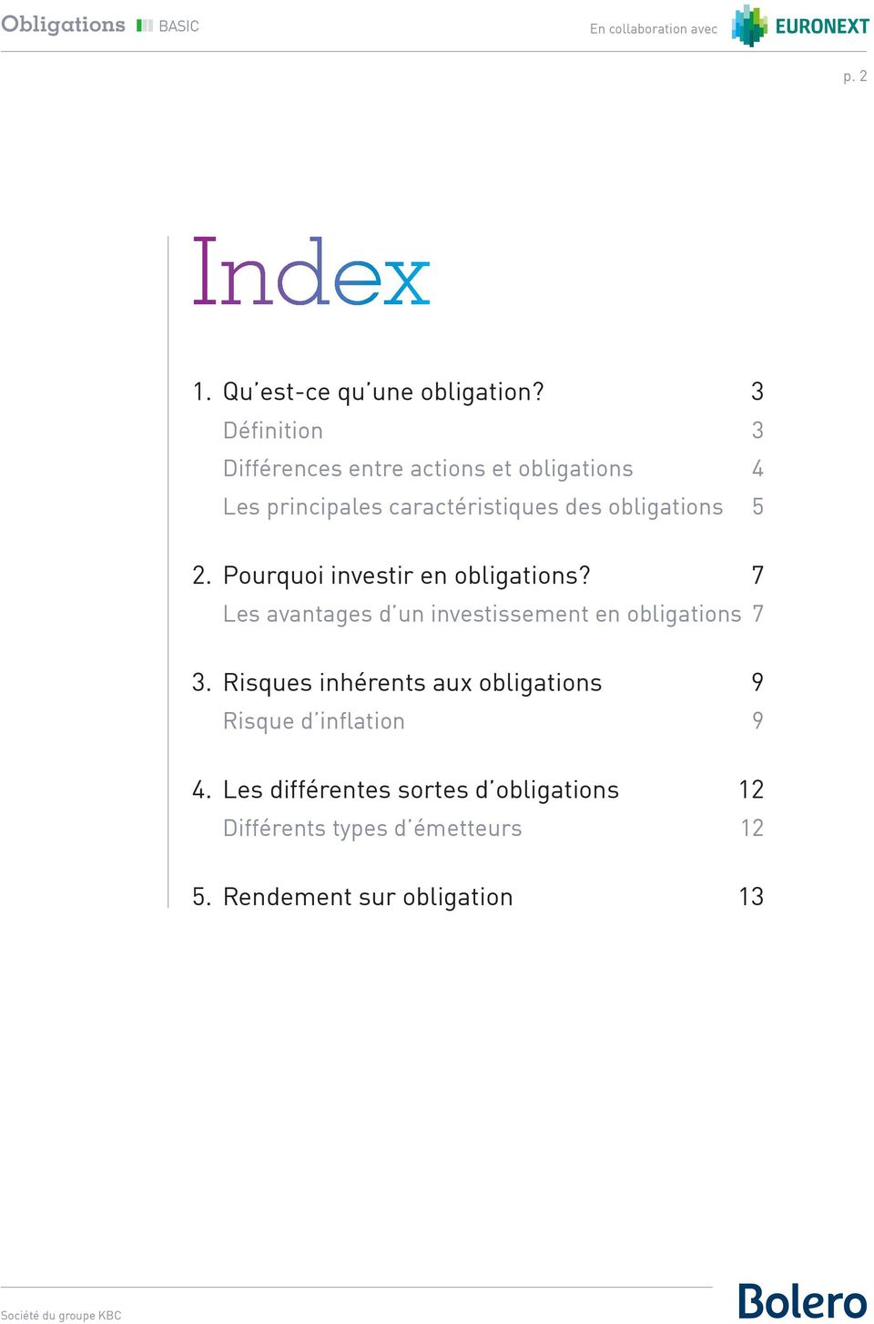 obligations 5 2. Pourquoi investir en obligations?