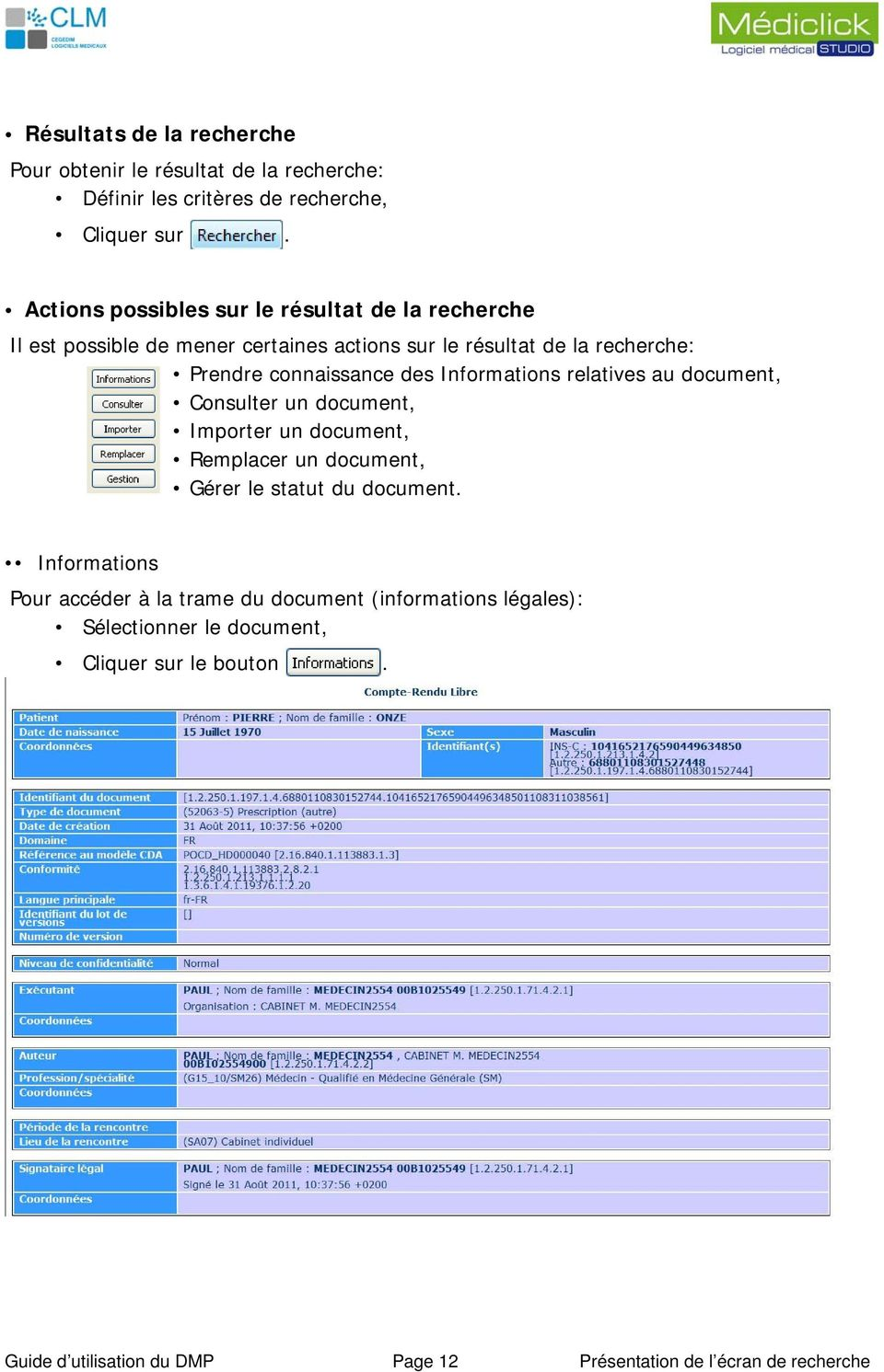 des Informations relatives au document, Consulter un document, Importer un document, Remplacer un document, Gérer le statut du document.
