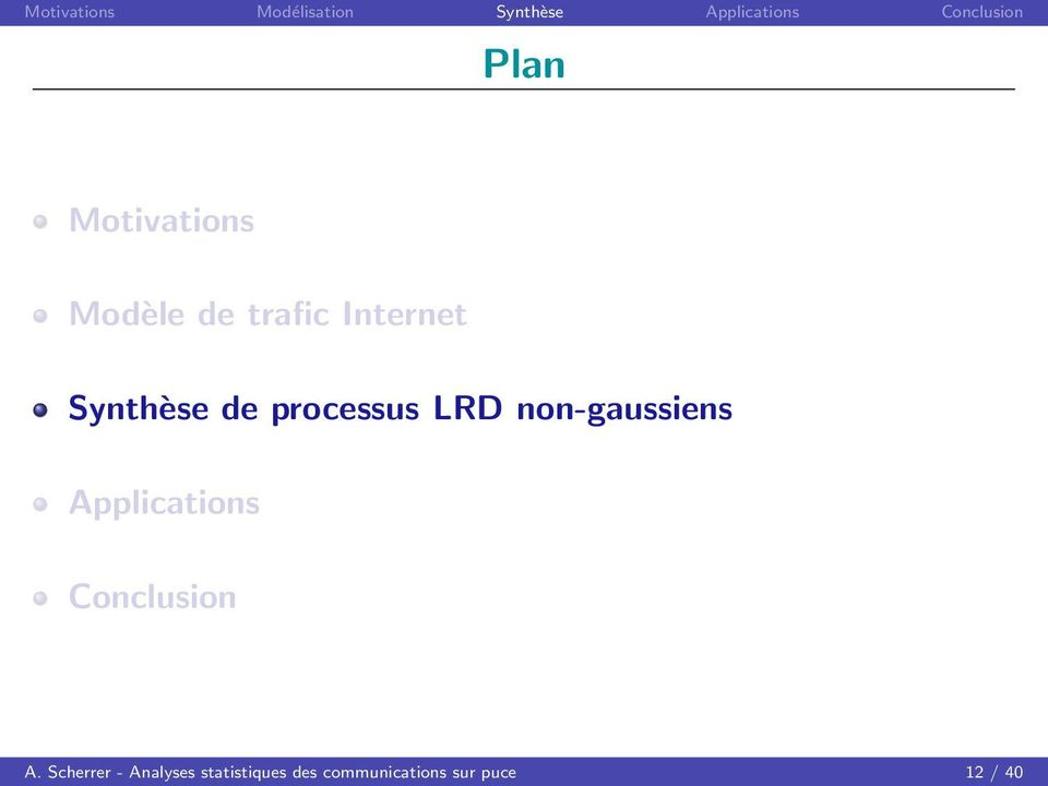 processus LRD non-gaussiens Applications Conclusion A.
