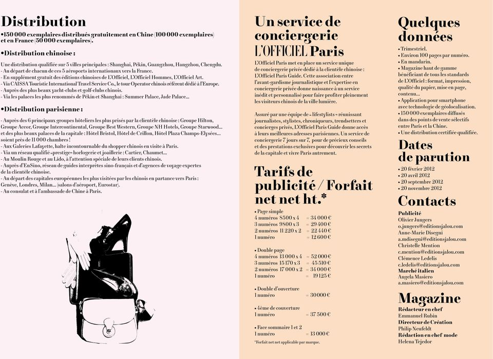 - En supplément gratuit des éditions chinoises de L Officiel, L Officiel Hommes, L Officiel Art. - Via CAISSA Touristic International Travel Service Co.