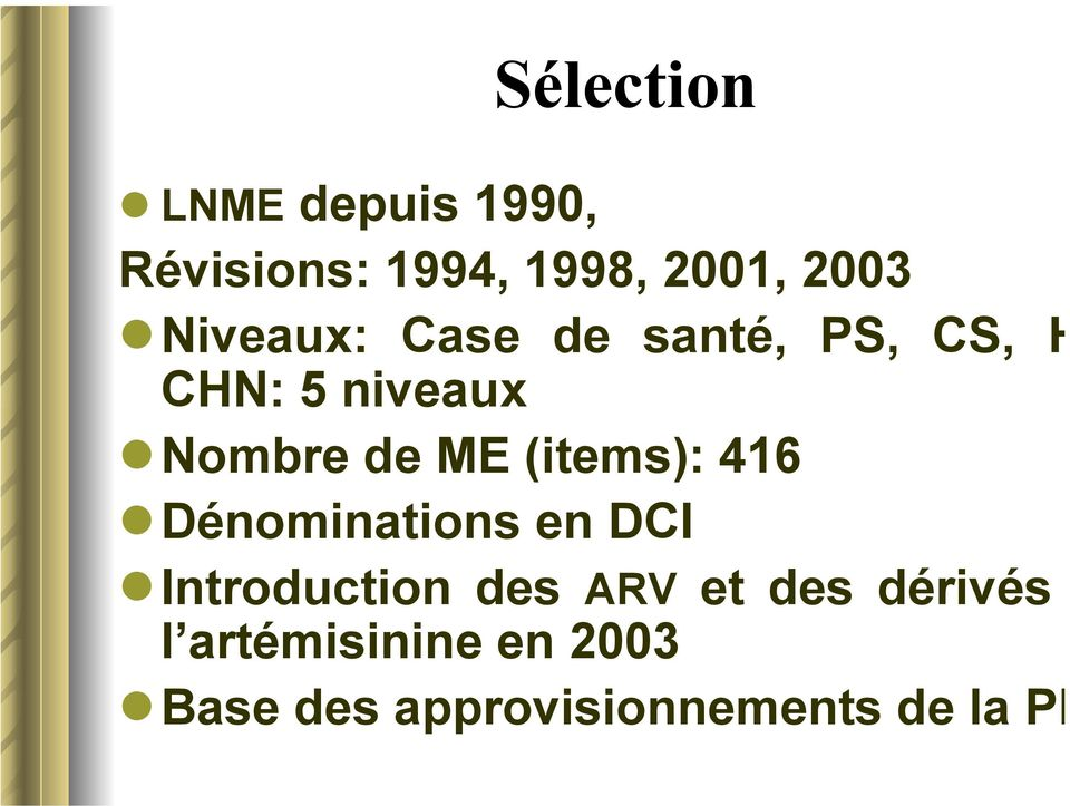 (items): 416 Dénominations en DCI Introduction des ARV et des