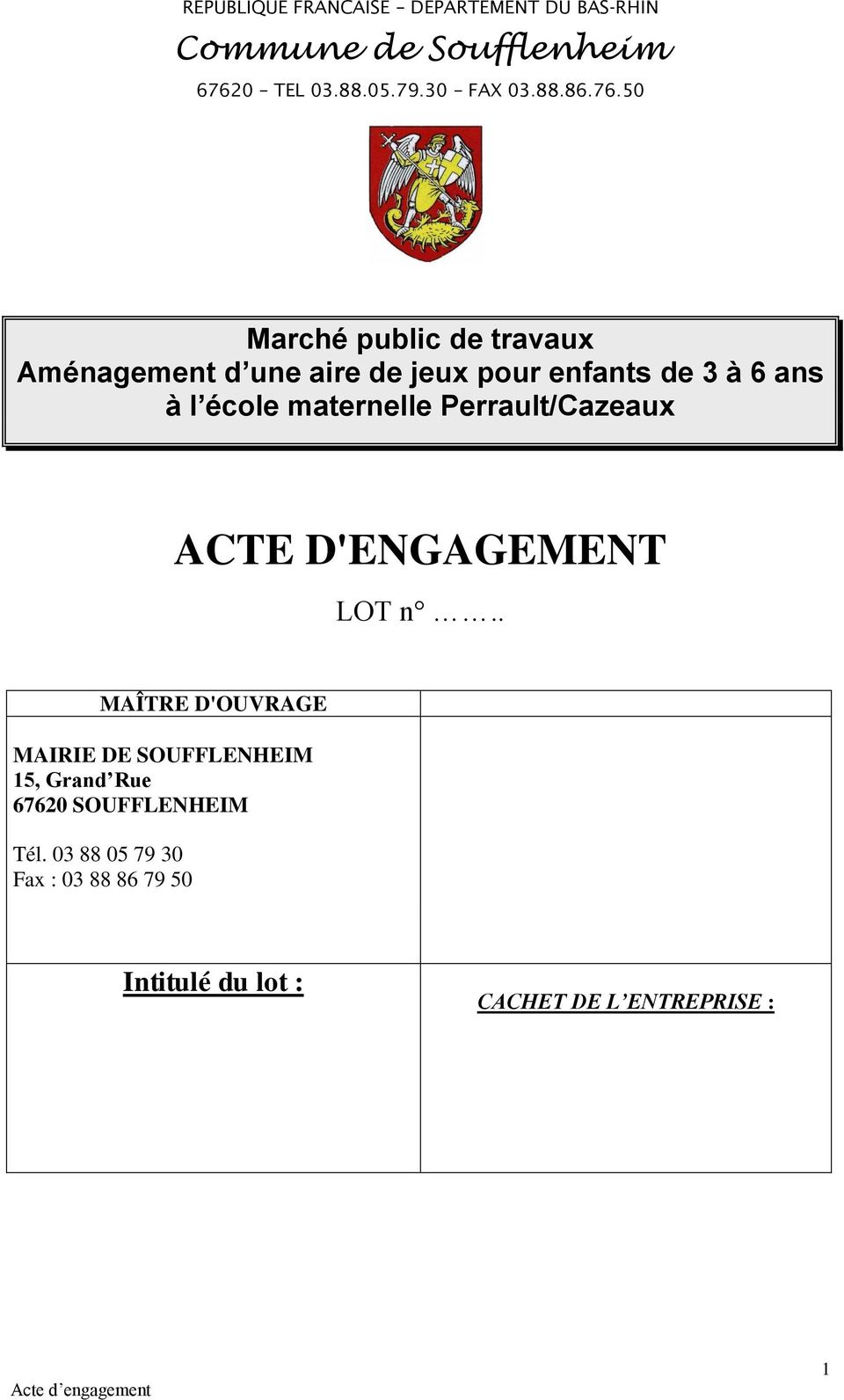 Perrault/Cazeaux ACTE D'ENGAGEMENT LOT n.