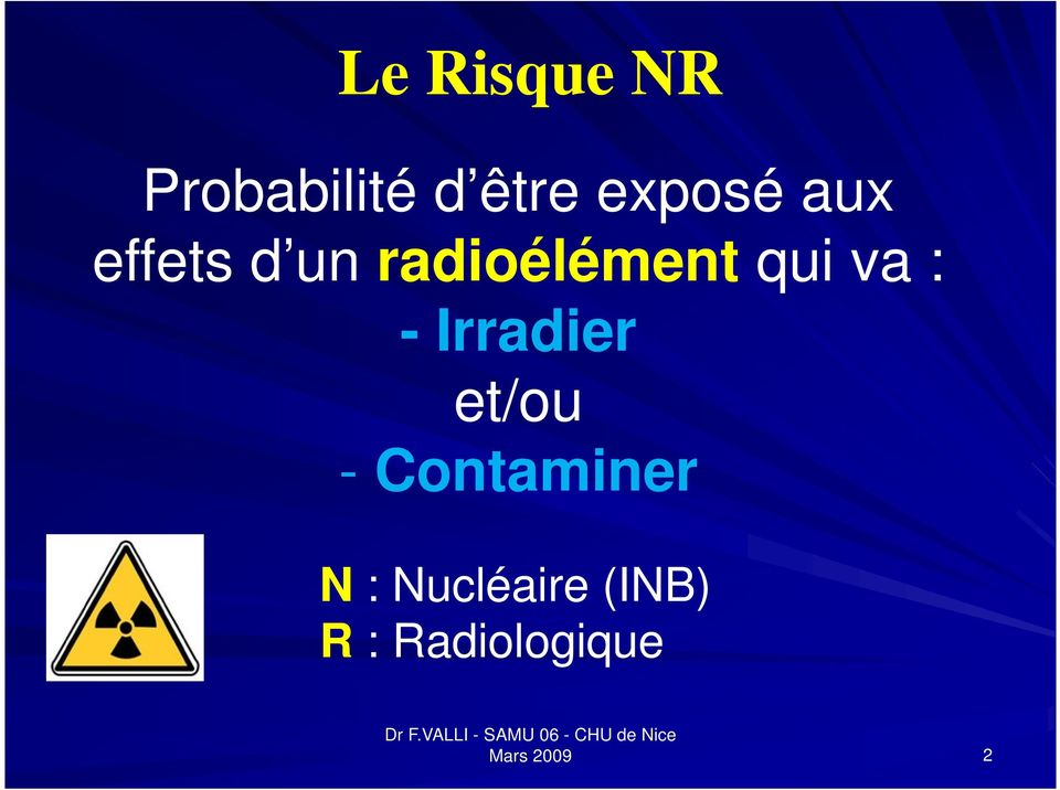 - Irradier et/ou - Contaminer N :
