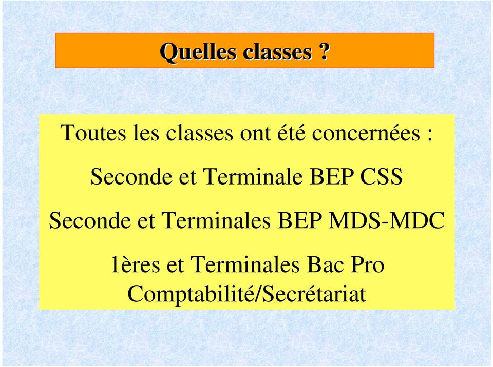 Seconde et Terminale BEP CSS Seconde et