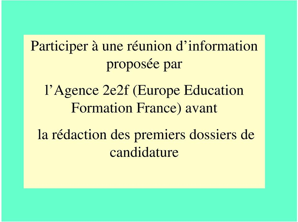 Education Formation France) avant la