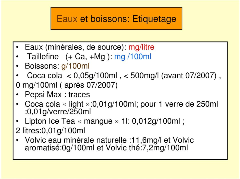 cola «light»:0,01g/100ml; pour 1 verre de 250ml :0,01g/verre/250ml Lipton Ice Tea «mangue» 1l: 0,012g/100ml ; 2