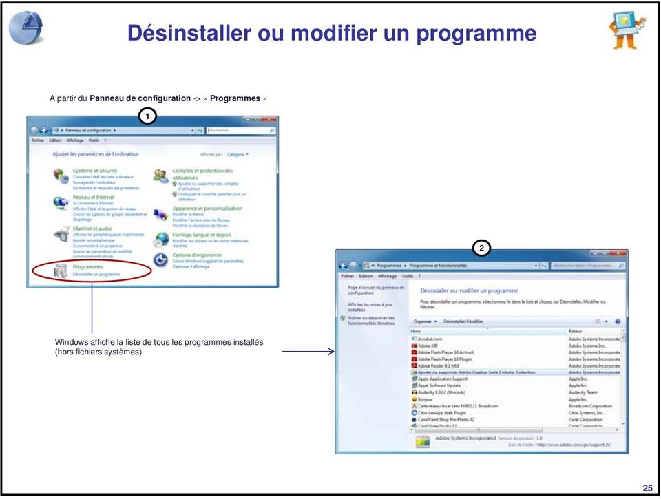 «Programmes» 1 2 Windows affiche la liste de