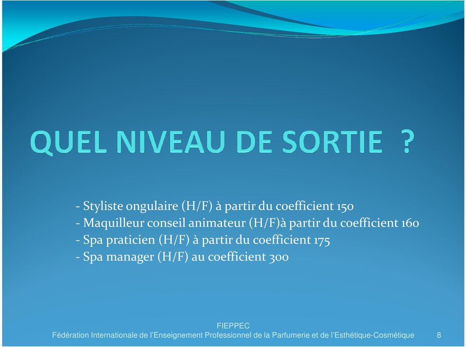 coefficient 175 - Spa manager (H/F) au coefficient 300 Fédération