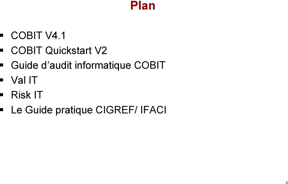 audit informatique COBIT Val