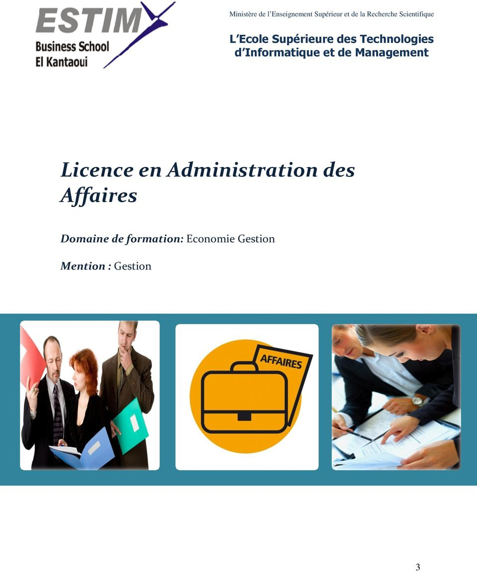 Informatique et de Management Licence en Administration