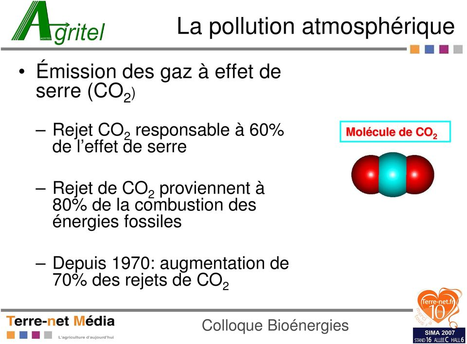 Molécule de CO 2 Rejet de CO 2 proviennent à 80% de la