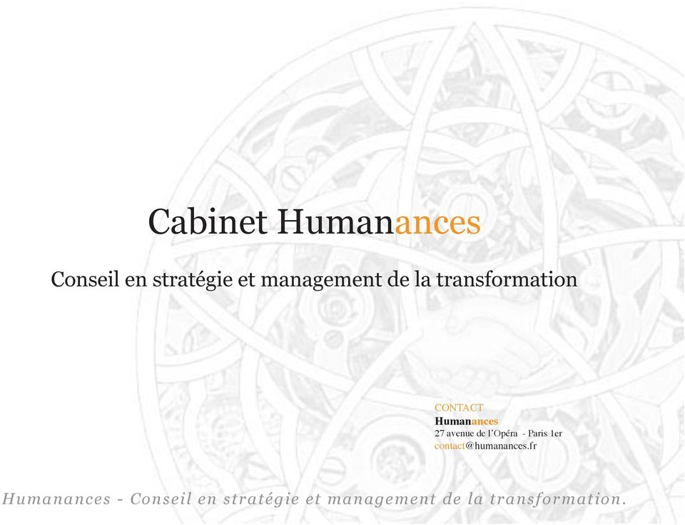 transformation CONTACT Humanances 27