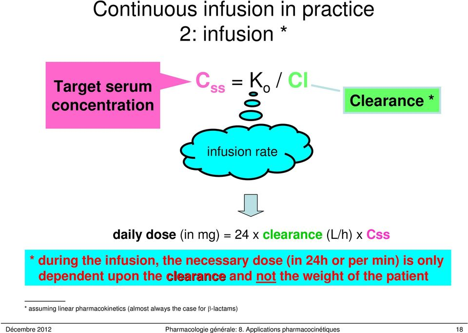 concentration Clearance * infusion rate daily dose (in mg) = 24 x clearance (L/h) x Css * during the infusion,