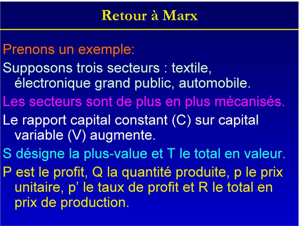 Le rapport capital constant (C) sur capital variable (V) augmente.