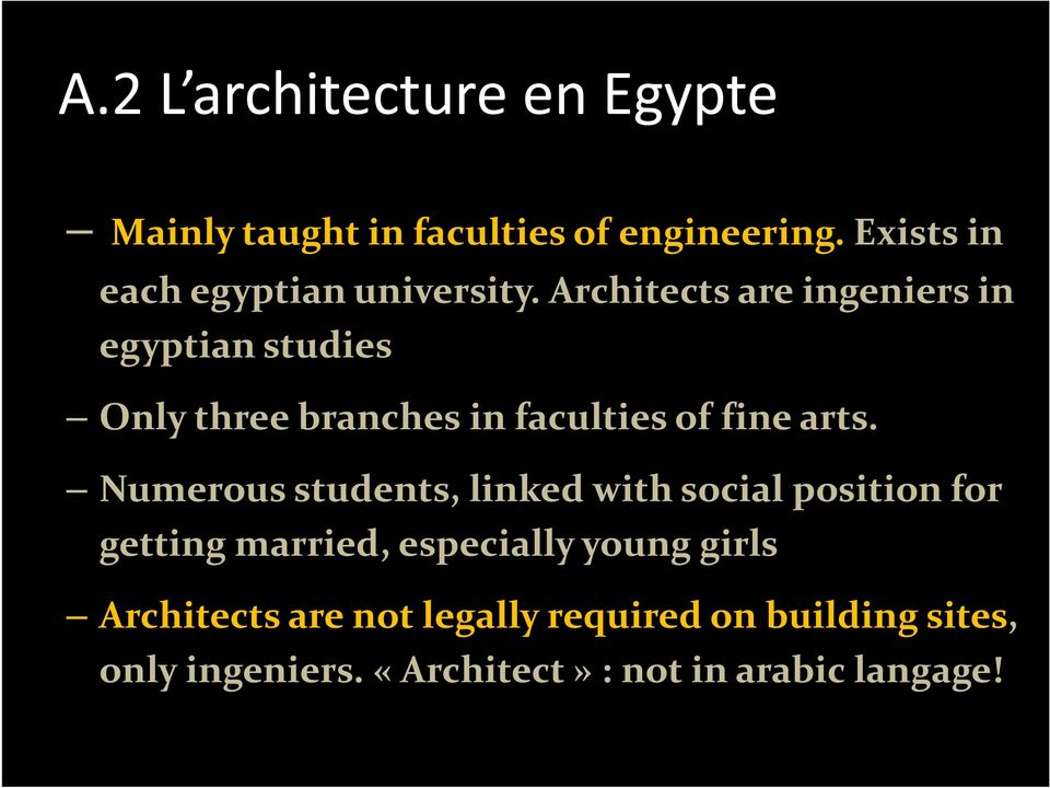 Architects are ingeniers in egyptian studies Only three branches in faculties of fine arts.