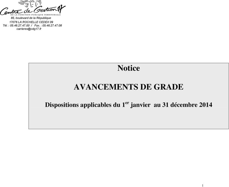 fr Notice AVANCEMENTS DE GRADE Dispositions