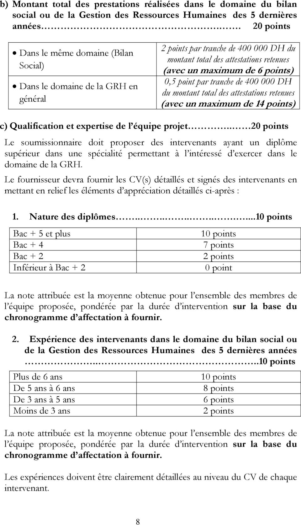 point par tranche de 400 000 DH du montant total des attestations retenues (avec un maximum de 14 points) c) Qualification et expertise de l équipe projet.