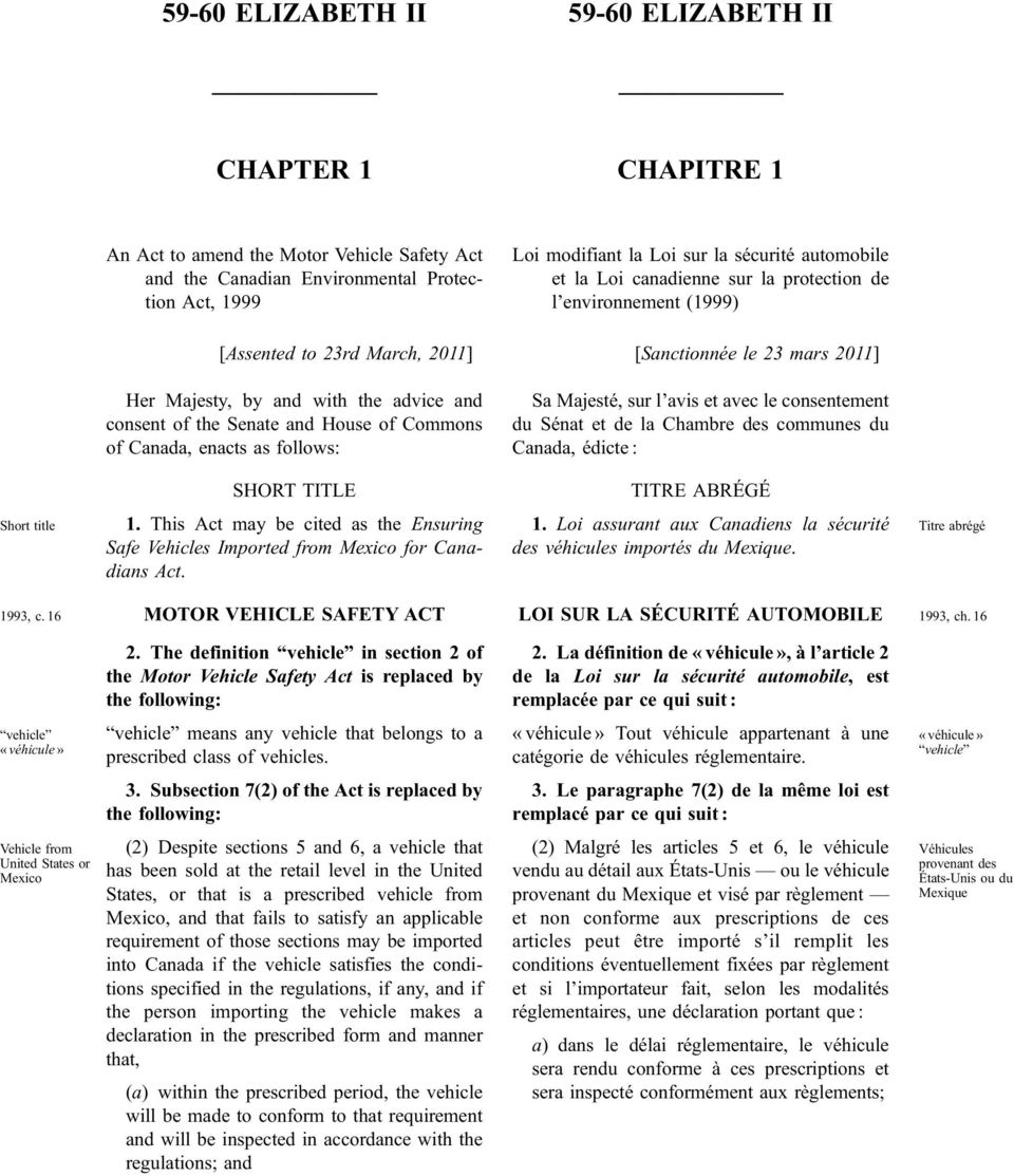 and House of Commons of Canada, enacts as follows: Sa Majesté, sur l avis et avec le consentement du Sénat et de la Chambre des communes du Canada, édicte : SHORT TITLE 1.