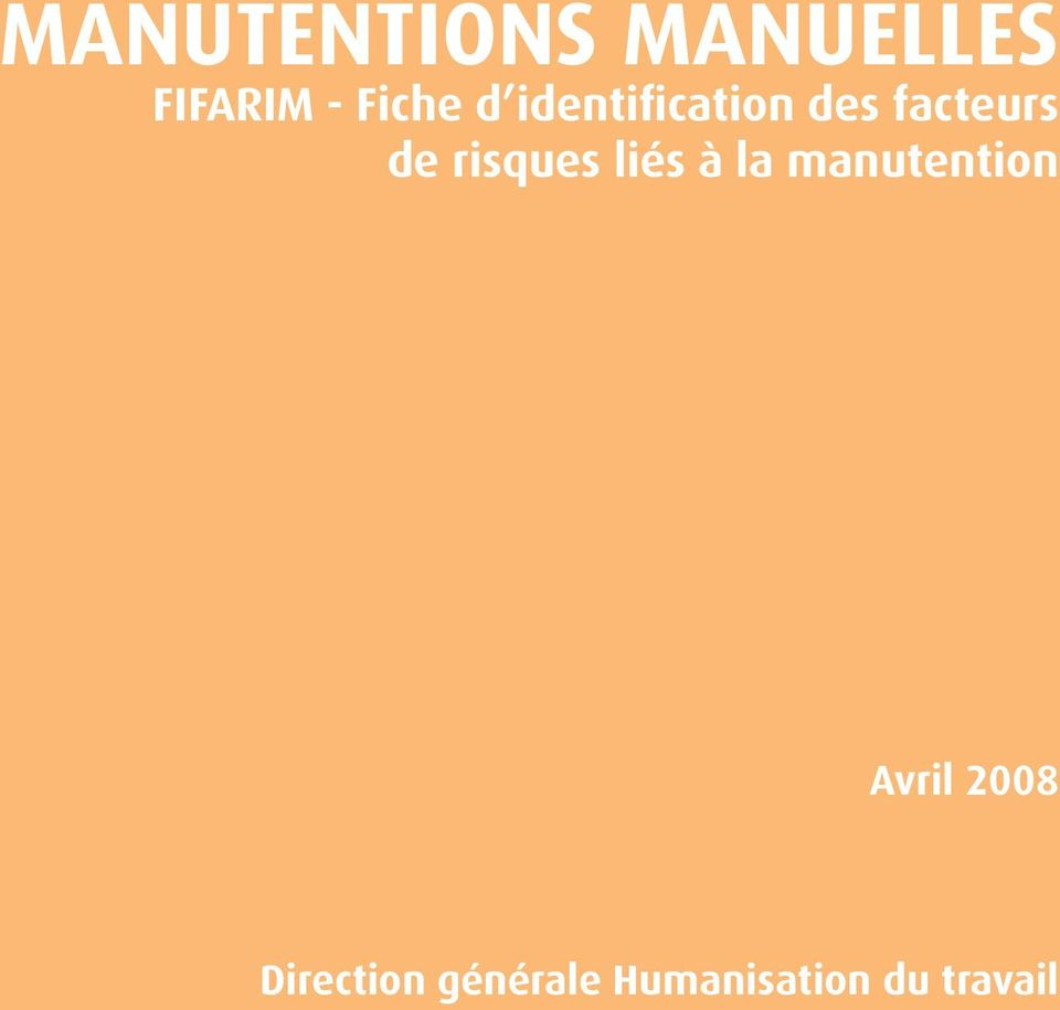 risques liés à la manutention Avril