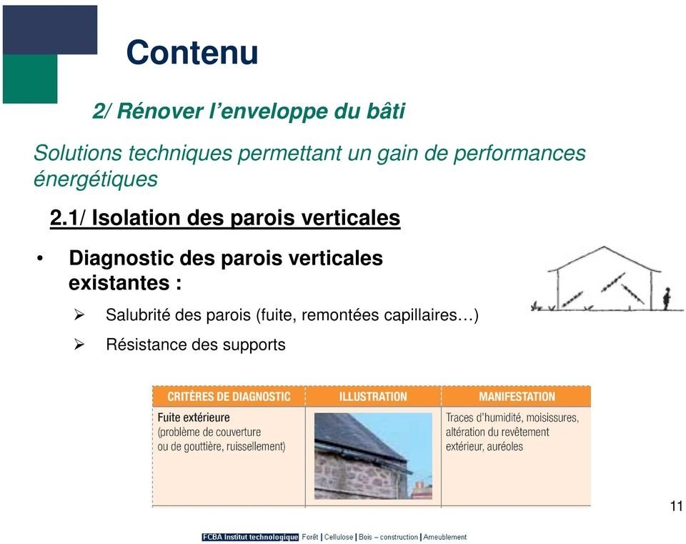 1/ Isolation des parois verticales Diagnostic des parois