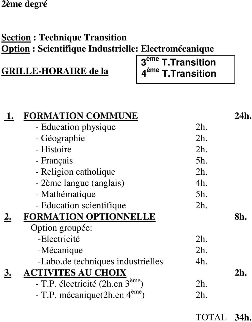 - Mathématique 5h. - Education scientifique 2h. 2. FORMATION OPTIONNELLE 8h. Option groupée: -Electricité 2h. -Mécanique 2h.