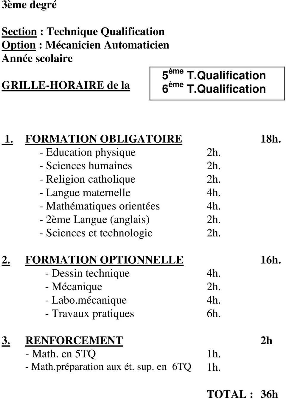 - 2ème Langue (anglais) 2h. - Sciences et technologie 2h. 2. FORMATION OPTIONNELLE 16h. - Dessin technique 4h. - Mécanique 2h.