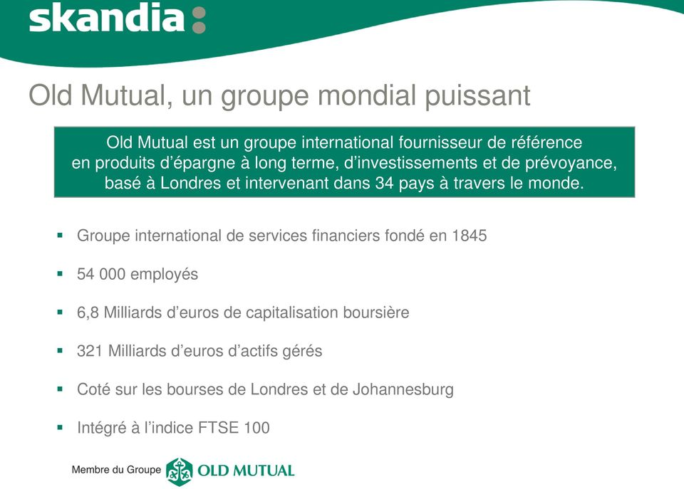 Groupe international de services financiers fondé en 1845 54 000 employés 6,8 Milliards d euros de capitalisation